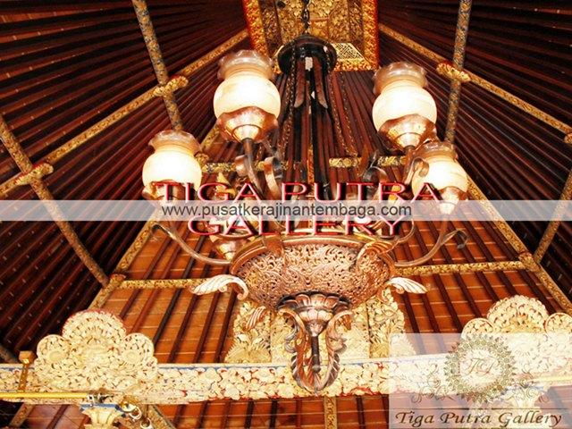 Lampu Gantung Tembaga Motif Ukir Bali